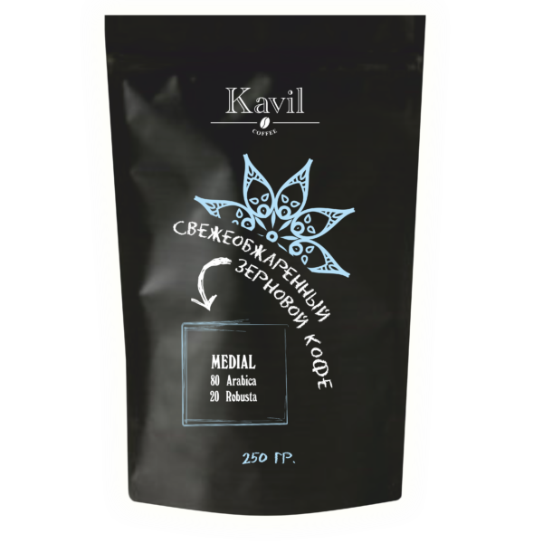 Кофе зерновой Kavil MEDIAL 80/20 вес 250 гр.