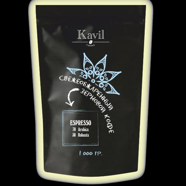 Кофе зерновой Kavil ESPRESSO 70/30 вес 1000 гр.